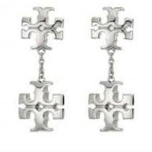 Tory Burch silver double logo drop earrings